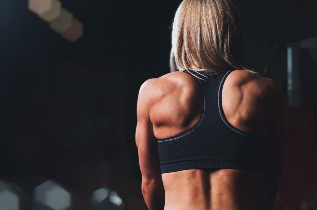 引き締まった女性の背中の筋肉