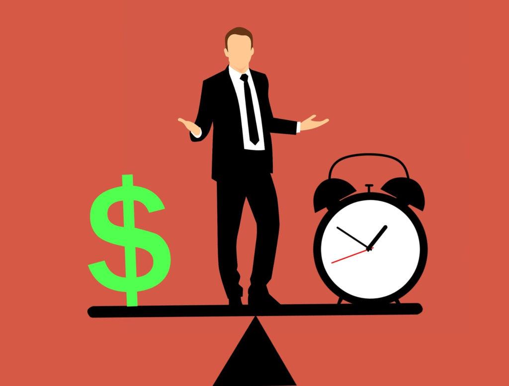時間とお金を天秤にかける男性のイラスト