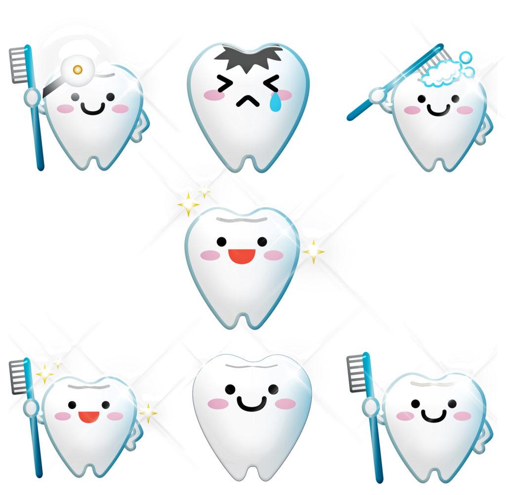 歯が歯ブラシを持つイラスト